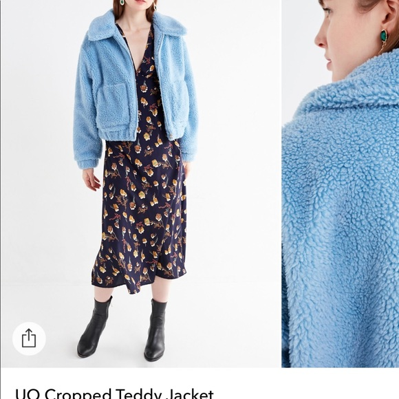 Urban Outfitters Jackets Coats Blue Fur Teddy Crop Jacket Poshmark